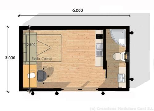 Mobilhome de madera 6x3
