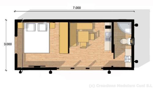 Mobilhome de madera 7x3